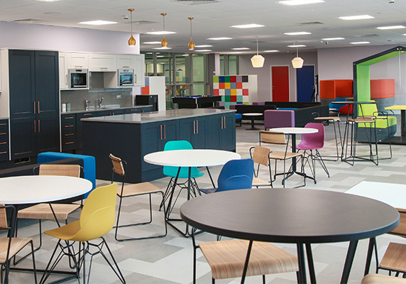 Colourful furniture and modern office kitchen for Willson Grange by Penketh Group