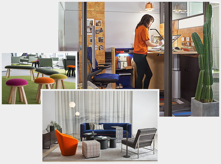 Collage of brightly coloured office furniture featuring woman using a sit stand desk